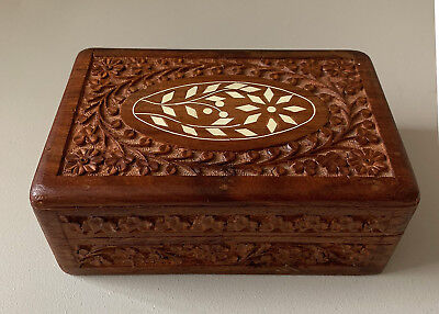 Vintage Carved Wood Trinket Jewelry Box w Shell Inlay INDIA