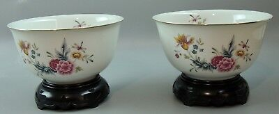 1981 American Avon Heirloom Porcelain Bowls on Stand, Pair