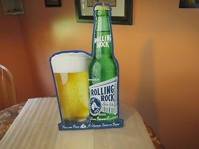 "Rolling Rock Beer tin SIGN 27"" x 14"""