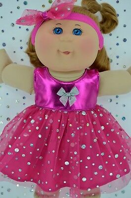 """Play n Wear Doll Clothes To Fit 14"""" Cabbage Patch HOT PINK SEQUIN DRESS~HEADBAND"""