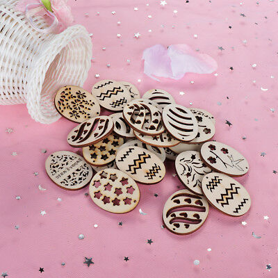 50Pcs Happy Easter Eggs Wooden Craft Easter Ornaments Wood Chips Hanging Decor