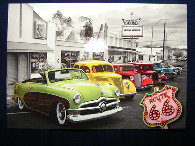 Historic Route 66 Old Classic Cars at Boston Antiques Postcard