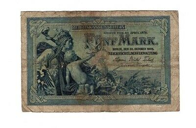 XXX-Rare genuine german 5 Mark empire banknote 1904 in ok condition 6 no,  !!