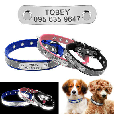 PU Leather Personalised Dog Collar Reflective Small Pet Dog Collars Engraved Tag