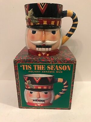 Tis The Season Holiday Ceramic Large 20 Oz Mug - Nutcracker - Rare-Vintage