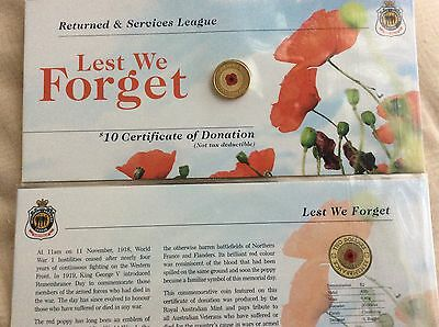 2012 red poppy Remembrance day ANZAC $2 coin, sealed UNC on RSL card