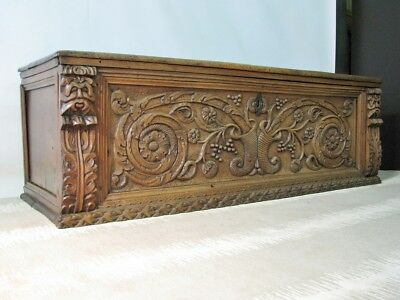 18th Century Solid Walnut Italian Cassone-Trunk; Beautifully Carved Front Panel