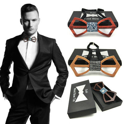 Fashon Men And Women Bow Tie Real Natural Handmade Wooden Bowtie Vintage Wood 1R