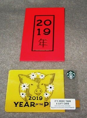 Starbucks 2019 Lunar Chinese New Year Of The Pig Gift Card & Red Sleeve #6162