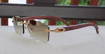 888b60a359 Limited Cartier Smooth Cafe Lens Carved Rosewood Buffalo Sunglasses  Shabowhita