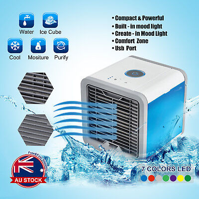 Mini Portable Air Conditioner Air Cooler USB LED Personal Desk Cooling Fan O