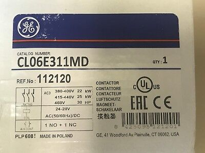 NEW GE CL06E311MD Contactor, IEC, 48A, 460VAC, 3P, 24VDC Coil, 1NO/NC Auxiliary