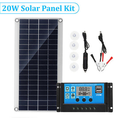 10W/15W/20W/25W Solar Panel Dual USB+10A Solar Charger Controller Camping Hiking