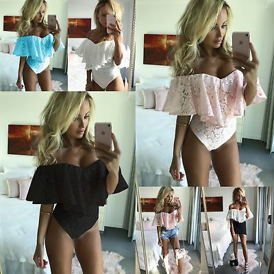 Womens Frill Off Shoulder Stretch Leotard Ladies Sexy Lace Playsuit Top Bodysuit