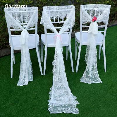 White Lace Table Runner Boho Wedding Tablecloth Party Banquet Chair Sash Decor