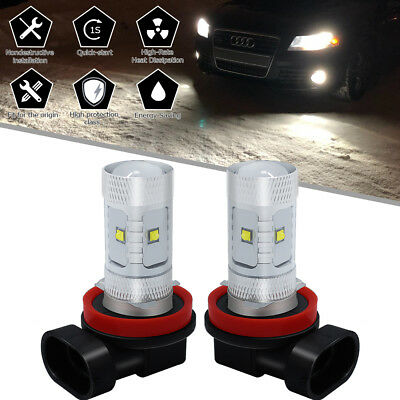 2Pcs H11 H8 H9 60W LED Pure White Cree_XBD Chip Projector Fog Driving Light Bulb