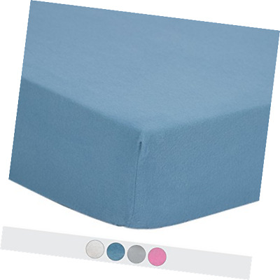 TILLYOU 100% Cotton Flannel Crib Sheet Warm, Ultra Soft Fitted Plush Blue