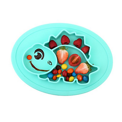 Qshare Toddler Plate, Baby Plate for Babies Toddlers and Kids, 1Dinosaur-Cyan