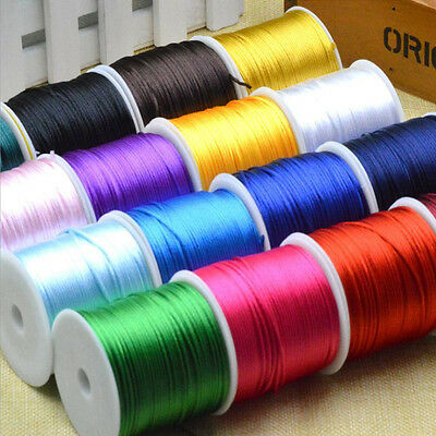 1.5mm Nylon Cord Satin DIY Rattail Thread Shamballa Jewelry Kumihimo Macrame Hot
