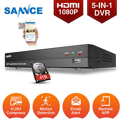 SANNCE FULL HD 1080P Video 8CH 5in1 CCTV DVR Motion Email Alert Security Remote