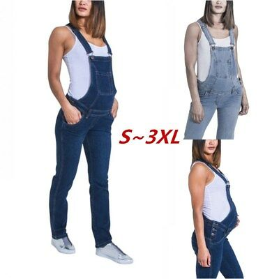 Maternity Rompers Womens Pants One Piece Denim Solid Middle Waist Long Jeans 2XL