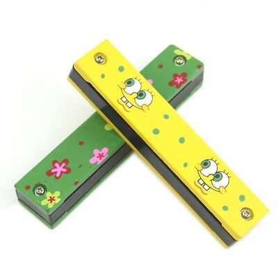 Wooden Painted Harmonica Children Kids Musical Instrument Educational Music C5C2