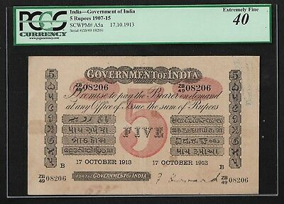 British India, 1913, 5 Rupees Red Uniface Note, PCGS XF 40, HF Howard sign P A5a