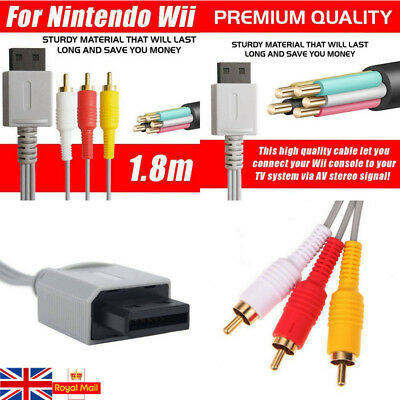 UK AV Composite Cable Audio Video TV Lead RCA Cord Wire For Nintendo Wii U Game