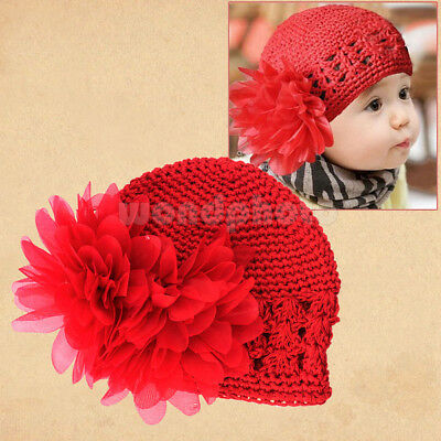 New Lovely Red Newborn Baby Toddlers Girls Cute Flower Crochet Beanie Cap Hat