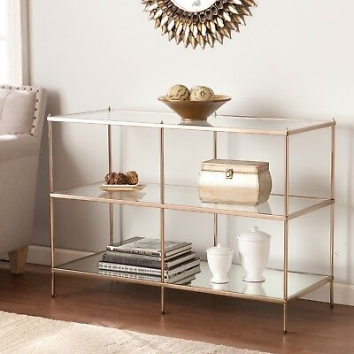 Cst32905 Metallic Gold / Glass Console Table