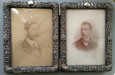 Antique Victorian 1900 Embossed Sterling Silver Folding Double Photo Frame
