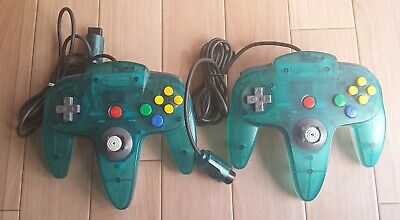 Nintendo 64 2 Clear Controller Bros. Red Blue N64 Official Tested&working F/S