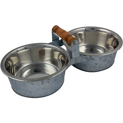 Large Double Pet Feeding Bowl Stand Dog Puppy Food Water Station Raised Vintage