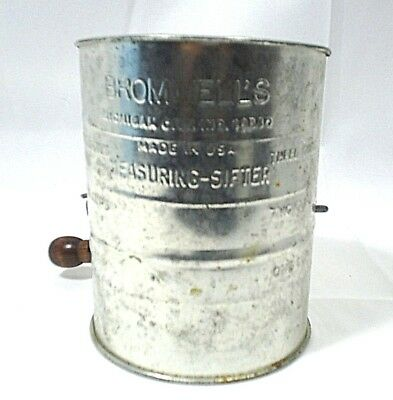 Brommel's Measuring Flour Sifter 3 Cups Wood Handle Kitchen Vintage