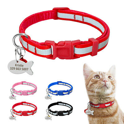 Reflective Personalised Pet Dog Cat Leather Collar Customised Engraved for Free