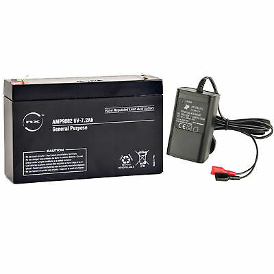 Toy Car Battery and Charger Combo 6V 7AH Battery & 6 Volt Mains Charger NEW