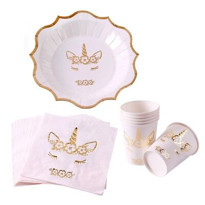 Gold Unicorn Kids Birthday Party Tableware Glitter Paper Disposable Cup Decor