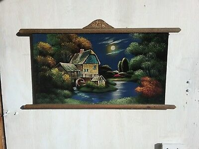"""Antique Hand Painted Wall Hanging Tapestry """"The Old Mill """""""