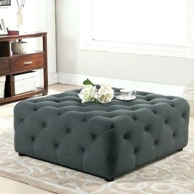 New large Chesterfield Style deep Buttoned Footstool/Coffee Table.