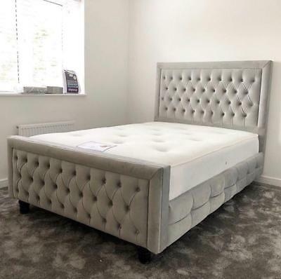Ariana Chesterfield Florida Cube Bed Frame And Mattress In Crushed Velvet