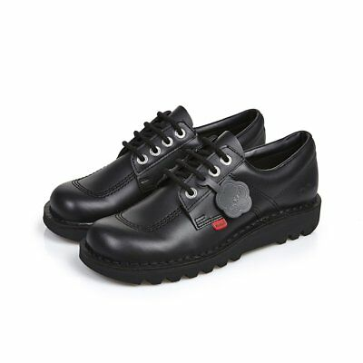 Rrp £89 Mens Kickers Kick Lo Core Black Leather Shoes Size 41 Eu 7 Uk Reduced!!