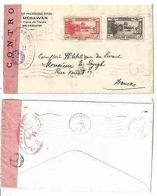 Liban Lebanon 3P+2P+ Lettre Cover Beyrouth 1940 To Damas Syrie Censure Lo 02
