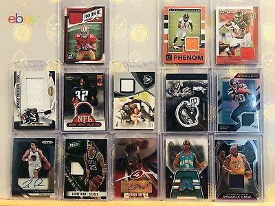 13x Game Worn Jersey Auto Lot Cards Chris Paul Shaquille Oneal Larry Bird & More