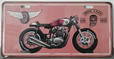 Rare plaque tôle MOTO IRON CAFE RIDE HARD style EMAIL 15X30 VINTAGE 66 USA