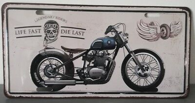 Rare plaque tôle MOTO LIFE FAST DIE LAST style EMAIL 15X30 VINTAGE 66 USA