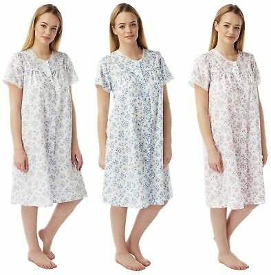 Plus size Short Sleeve Floral Cotton Nightie Nightdress Pink Purple Blue 10//30