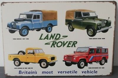 Rare plaque tôle LAND ROVER 4X4 88 107 109 110 style EMAIL 20X30 VINTAGE USA