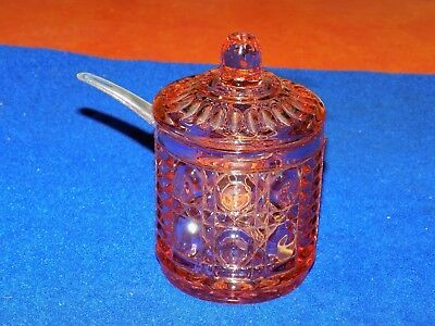 Vintage, Pink Depression Glass, Covered Preserve Jam/Jelly Jar with spoon