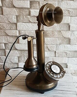 Brass Retro Candlestick Vintage Look Telephone Handmade Classy Gift