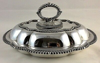 Silver Plate Entrée Dish with Rodham Heraldic Crest by J H Potter Sheffield 1895